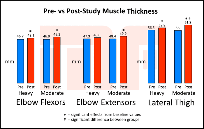 Training for Strength Vs Size - pre vs post muscle thickness - Myolean Fitness