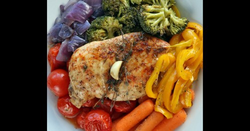 Baked Chicken and Rainbow Veggies - Myolean Fitness 500