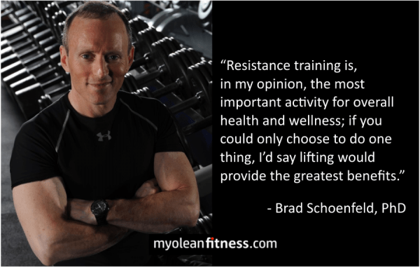 Brad Schoenfeld - Health Benefits of Strength Training Quote - Myolean Fitness